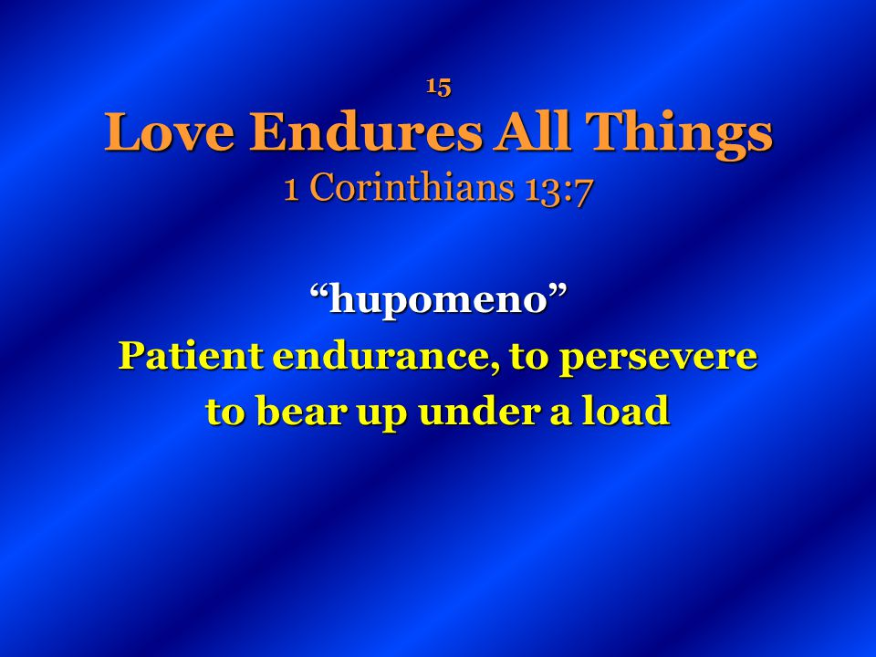 15 Love Endures All Things 1 Corinthians 13:7