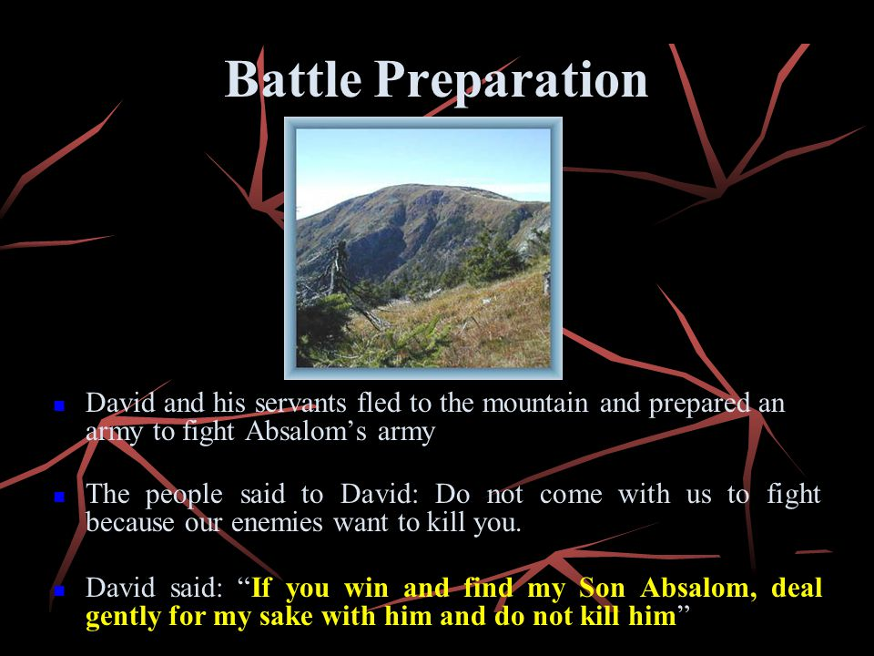 Battle Preparation David and his servants fled to the mountain and prepared an army to fight Absalom's army.