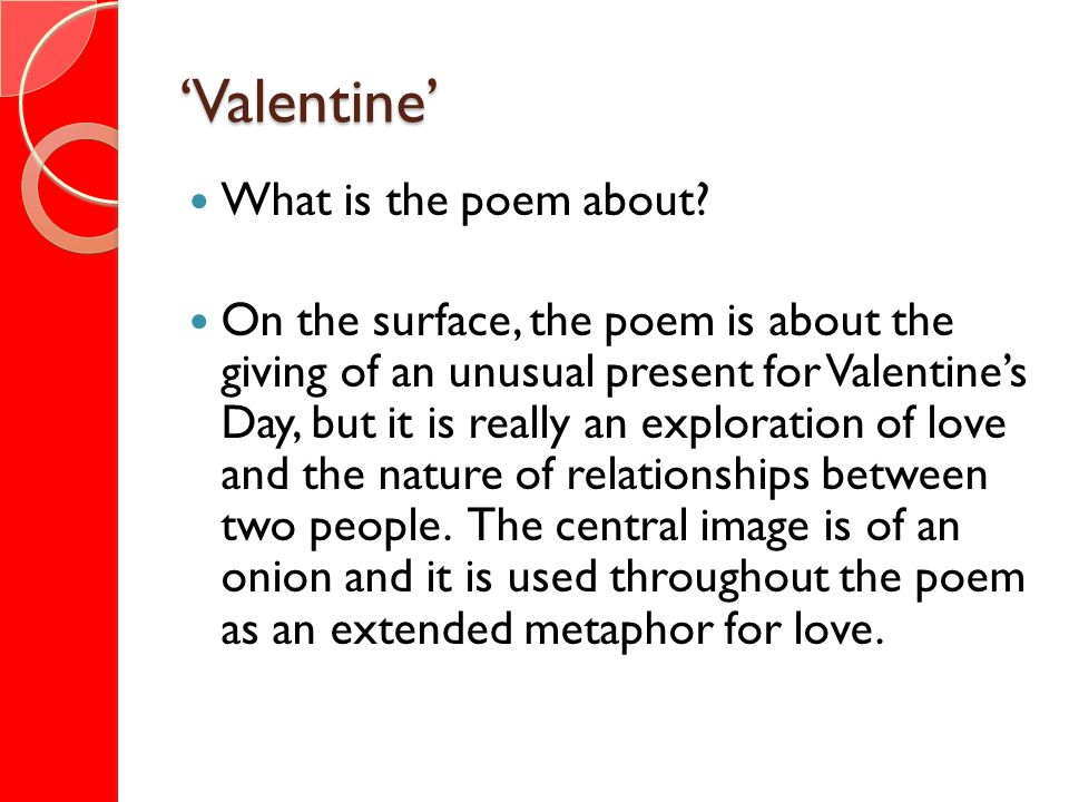'Valentine' What is the poem about