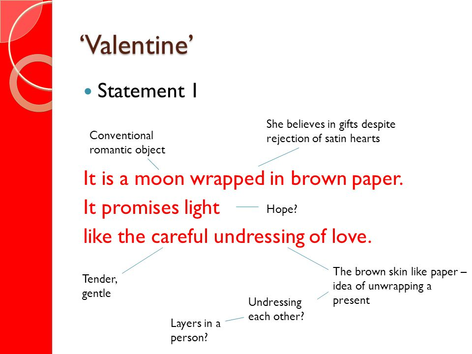 'Valentine' Statement 1 It is a moon wrapped in brown paper.