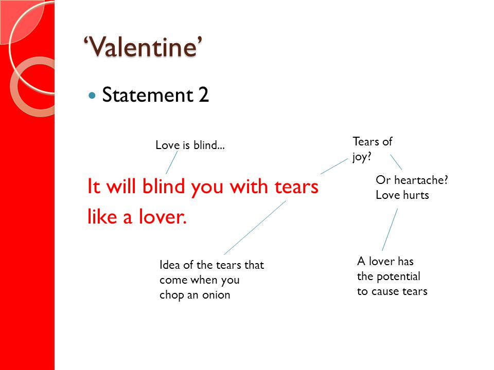 'Valentine' Statement 2 It will blind you with tears like a lover.