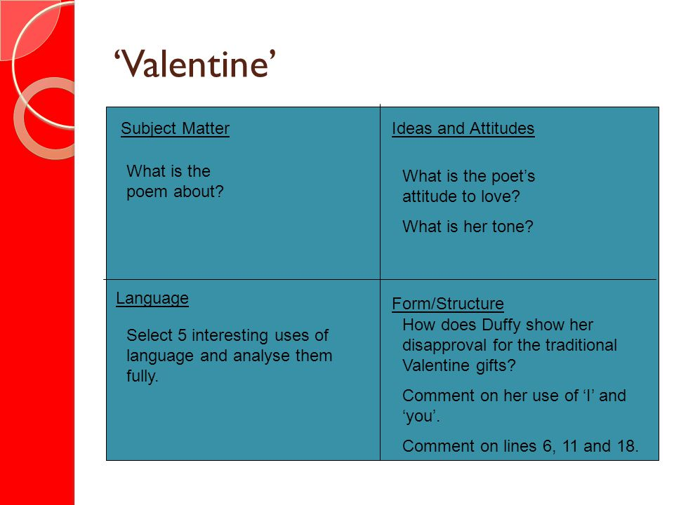'Valentine' Subject Matter Ideas and Attitudes What is the poem about