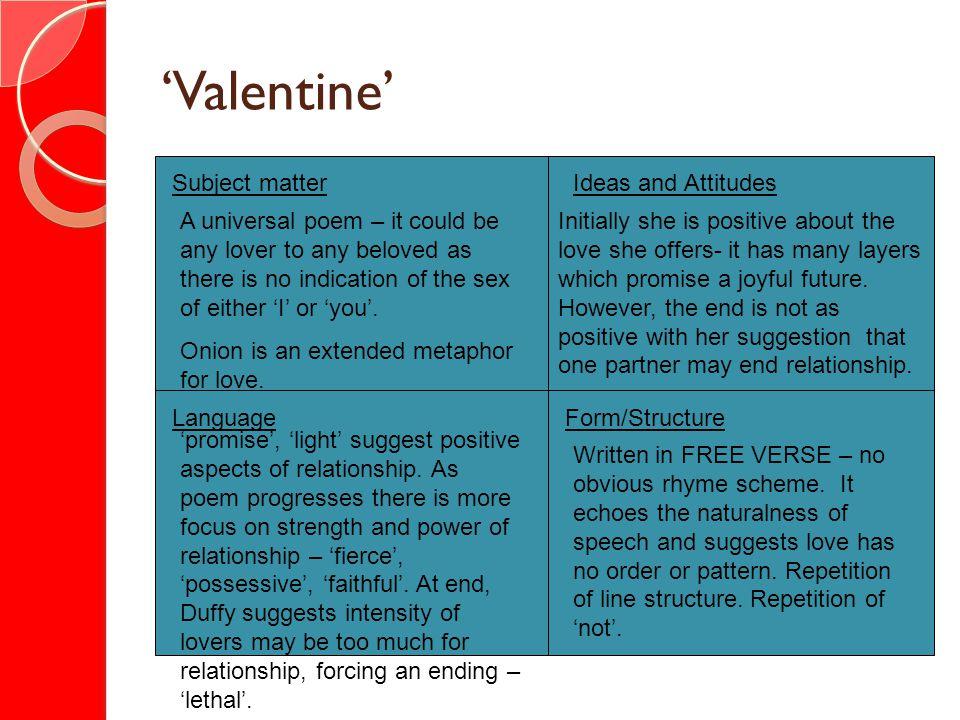 'Valentine' Subject matter Ideas and Attitudes
