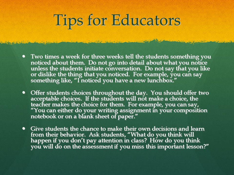 Tips for Educators