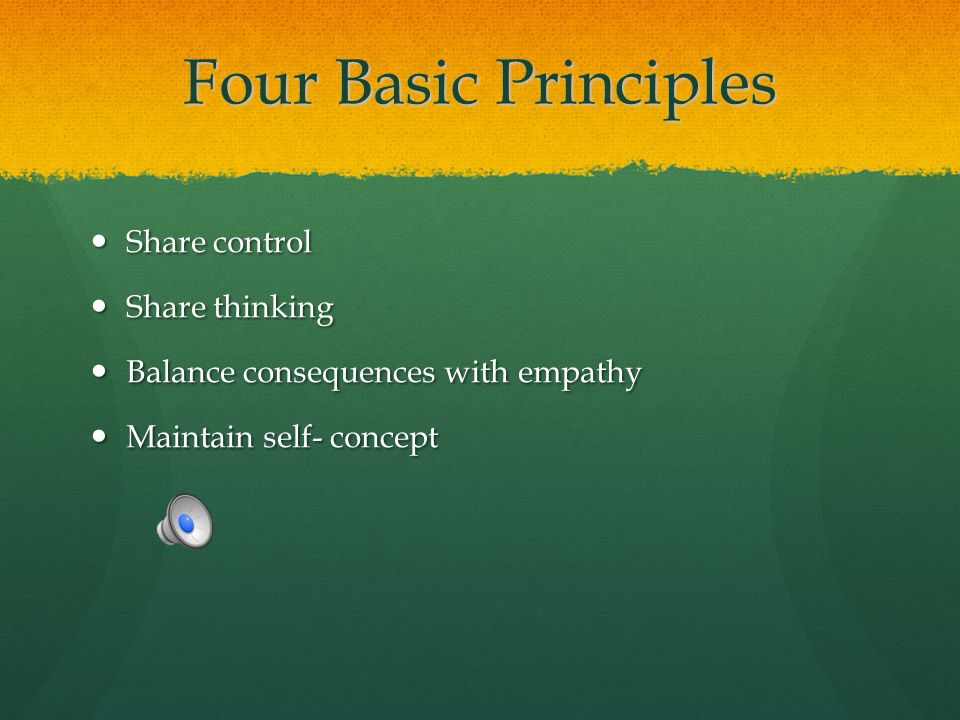 Four Basic Principles Share control Share thinking
