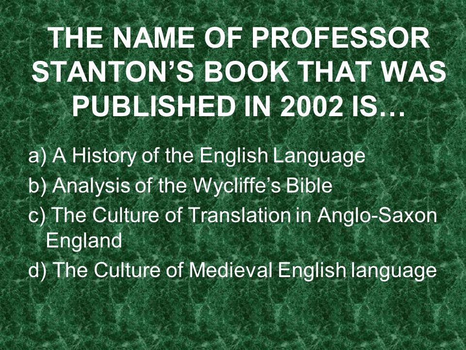 THE NAME OF PROFESSOR STANTON'S BOOK THAT WAS PUBLISHED IN 2002 IS…