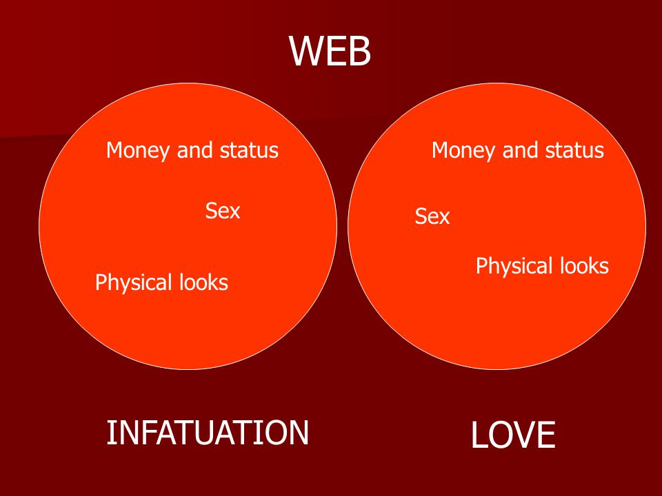 WEB LOVE INFATUATION Money and status Money and status Sex Sex