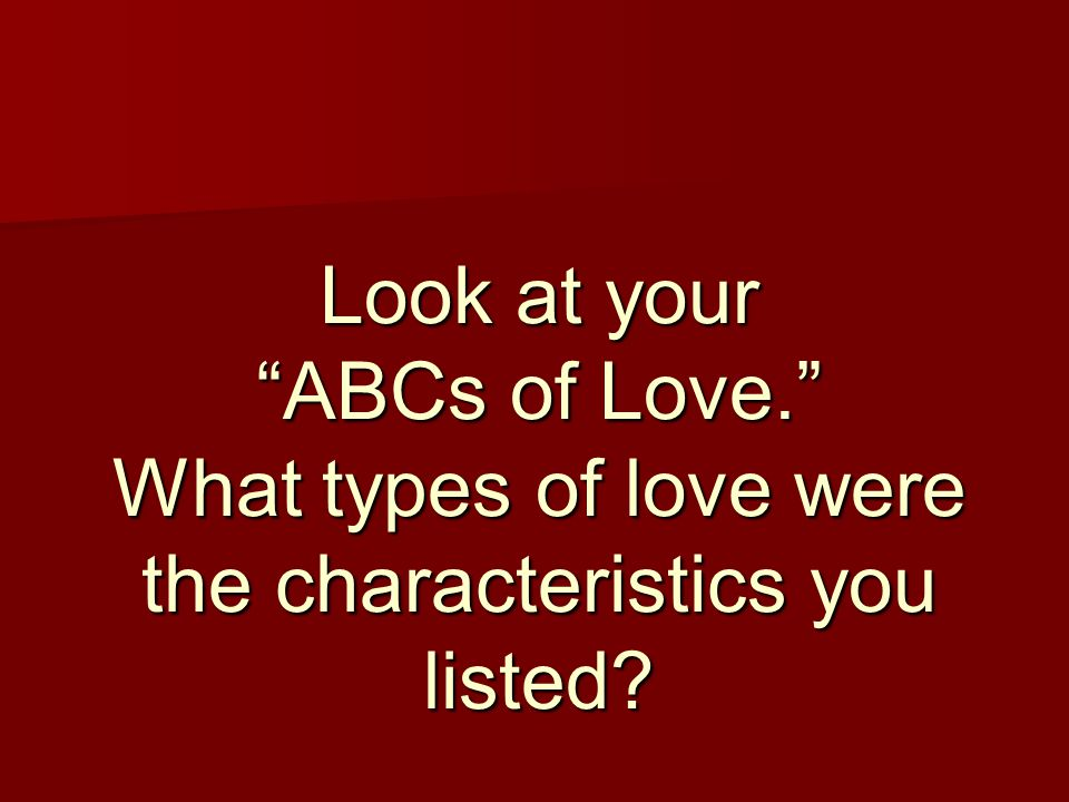 Look at your ABCs of Love