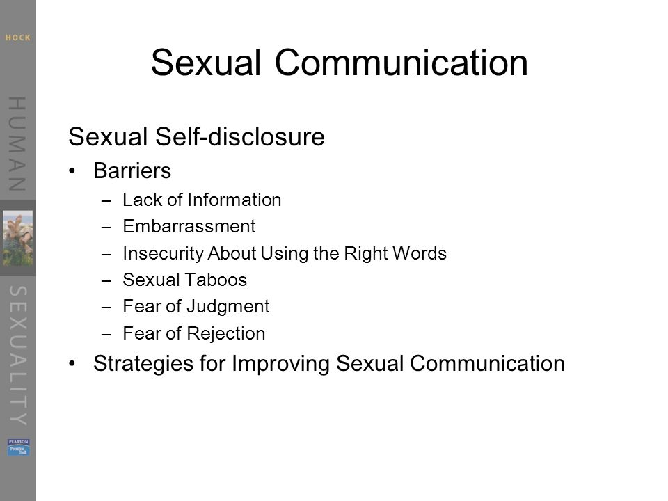 Sexual Communication Sexual Self-disclosure Barriers