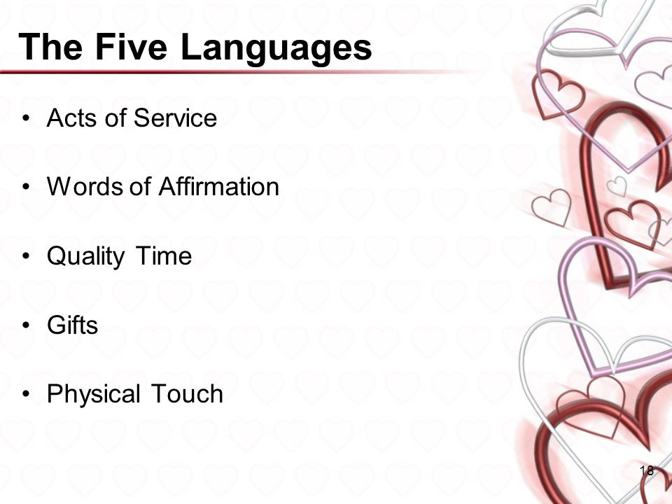 The Five Languages Acts of Service Words of Affirmation Quality Time