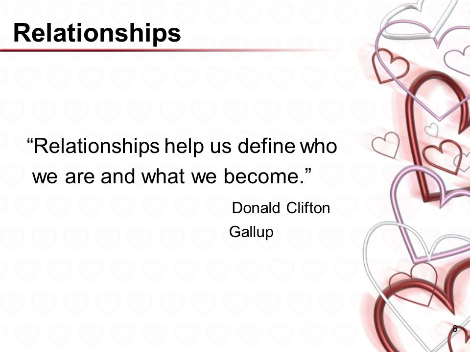 Relationships Relationships help us define who