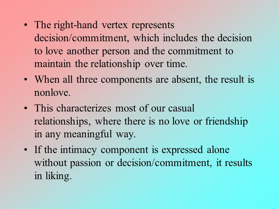 The right-hand vertex represents decision/commitment, which includes the decision to love another person and the commitment to maintain the relationship over time.