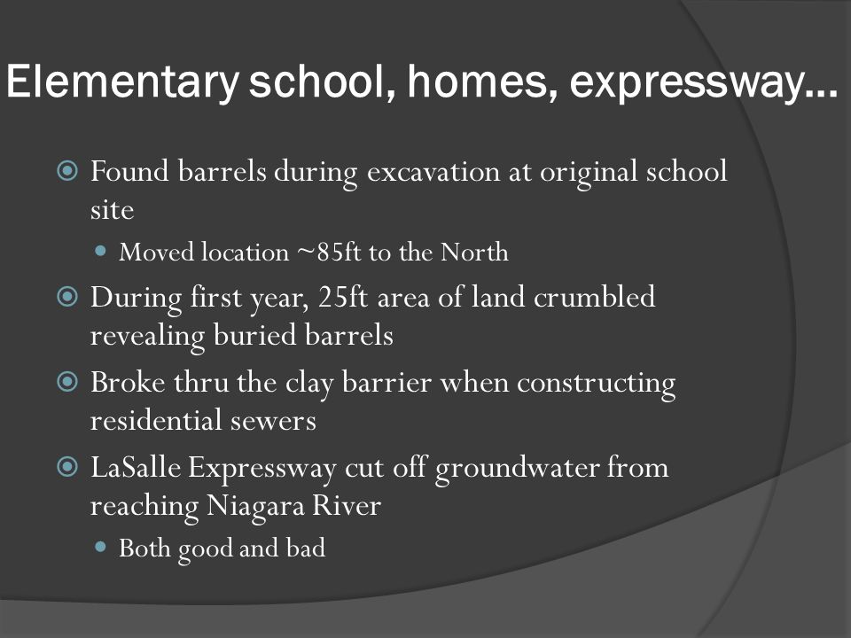 Elementary school, homes, expressway...