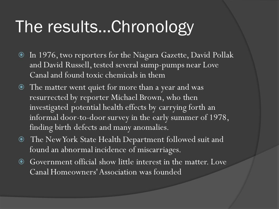 The results…Chronology