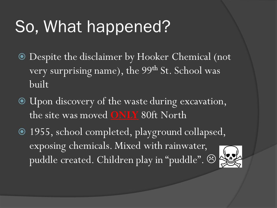 So, What happened Despite the disclaimer by Hooker Chemical (not very surprising name), the 99th St. School was built.