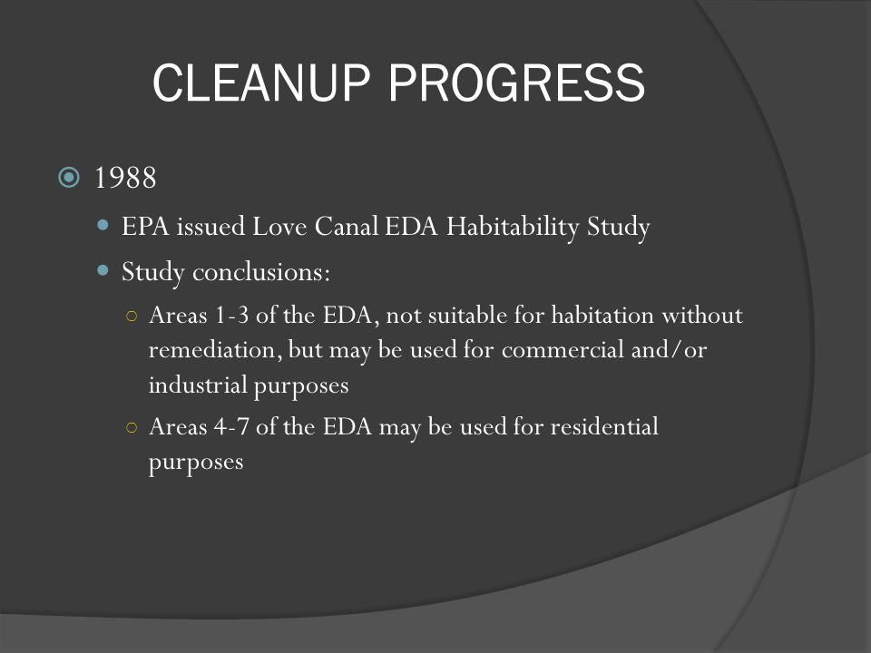CLEANUP PROGRESS 1988 EPA issued Love Canal EDA Habitability Study