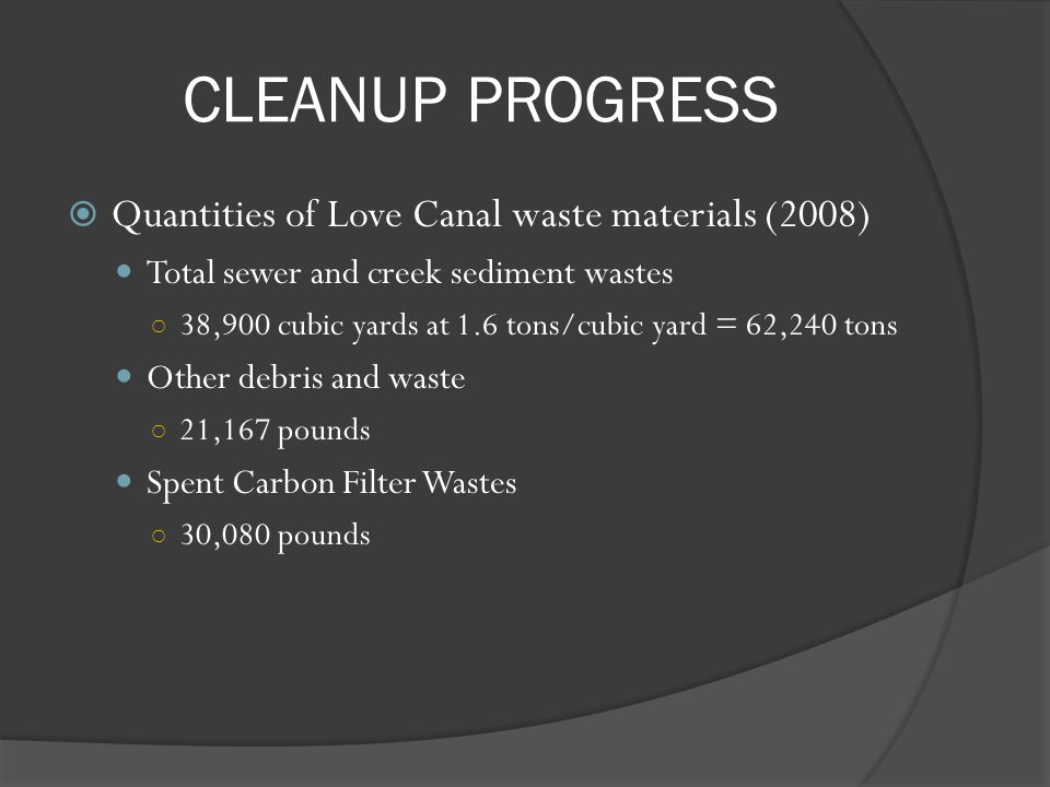 CLEANUP PROGRESS Quantities of Love Canal waste materials (2008)