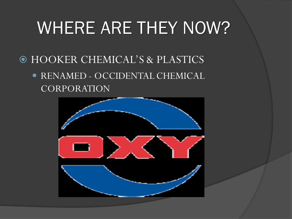 WHERE ARE THEY NOW HOOKER CHEMICAL'S & PLASTICS