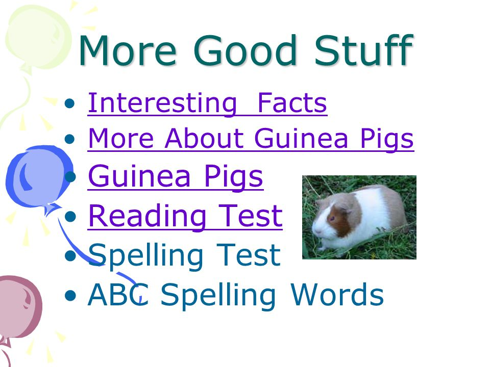 More Good Stuff Guinea Pigs Reading Test Spelling Test