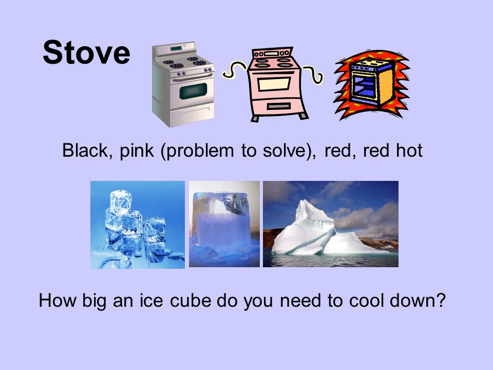 Stove Black, pink (problem to solve), red, red hot