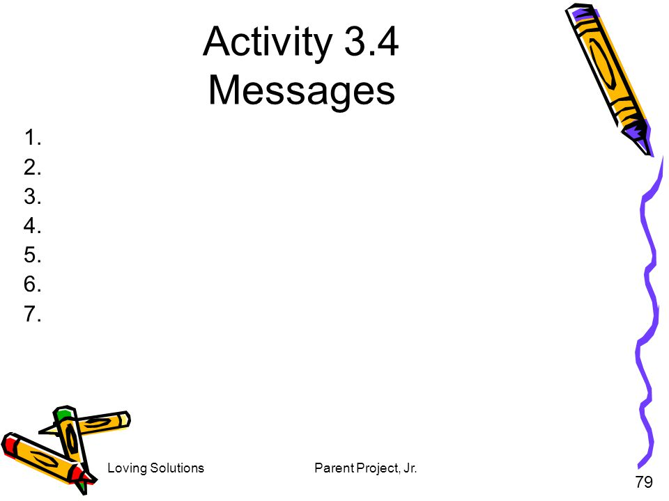 Activity 3.4 Messages 1. 2. 3. 4. 5. 6. 7. 79 Loving Solutions