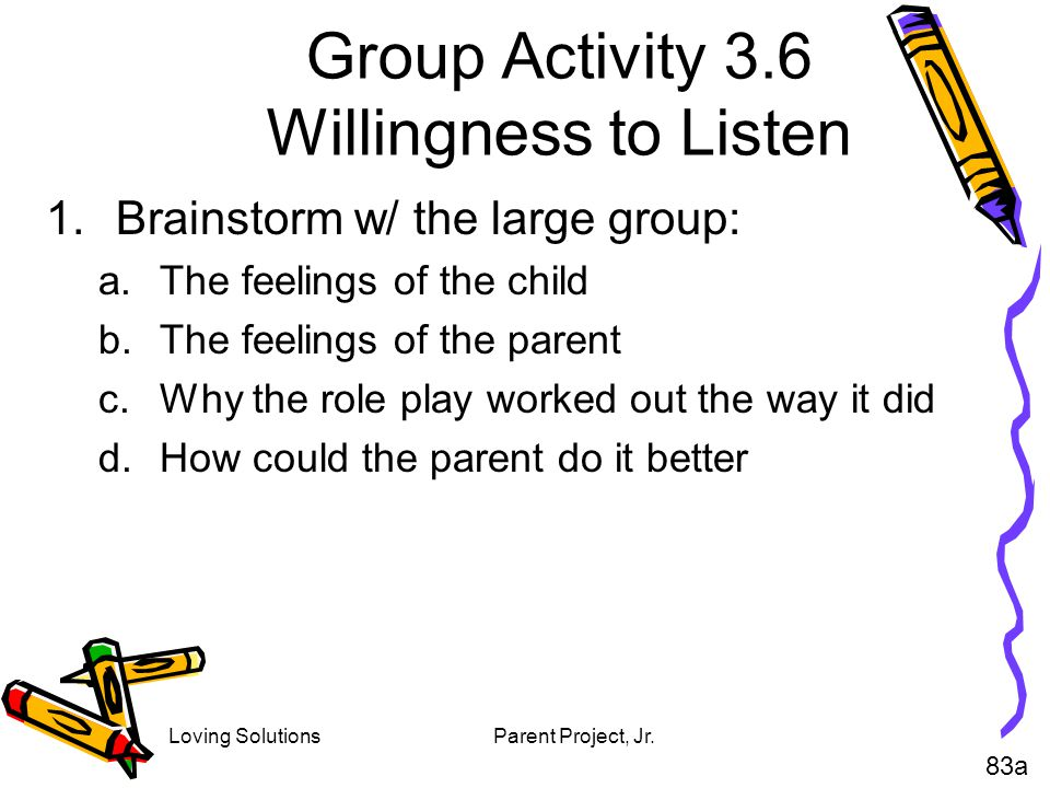 Group Activity 3.6 Willingness to Listen