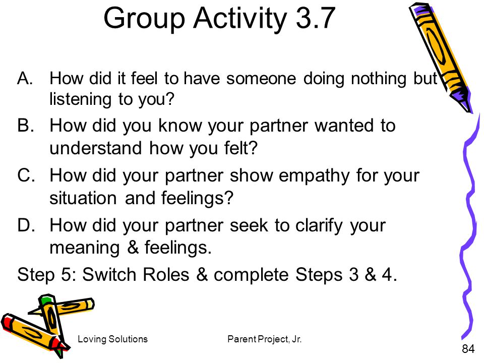 Group Activity 3.7 How did it feel to have someone doing nothing but listening to you