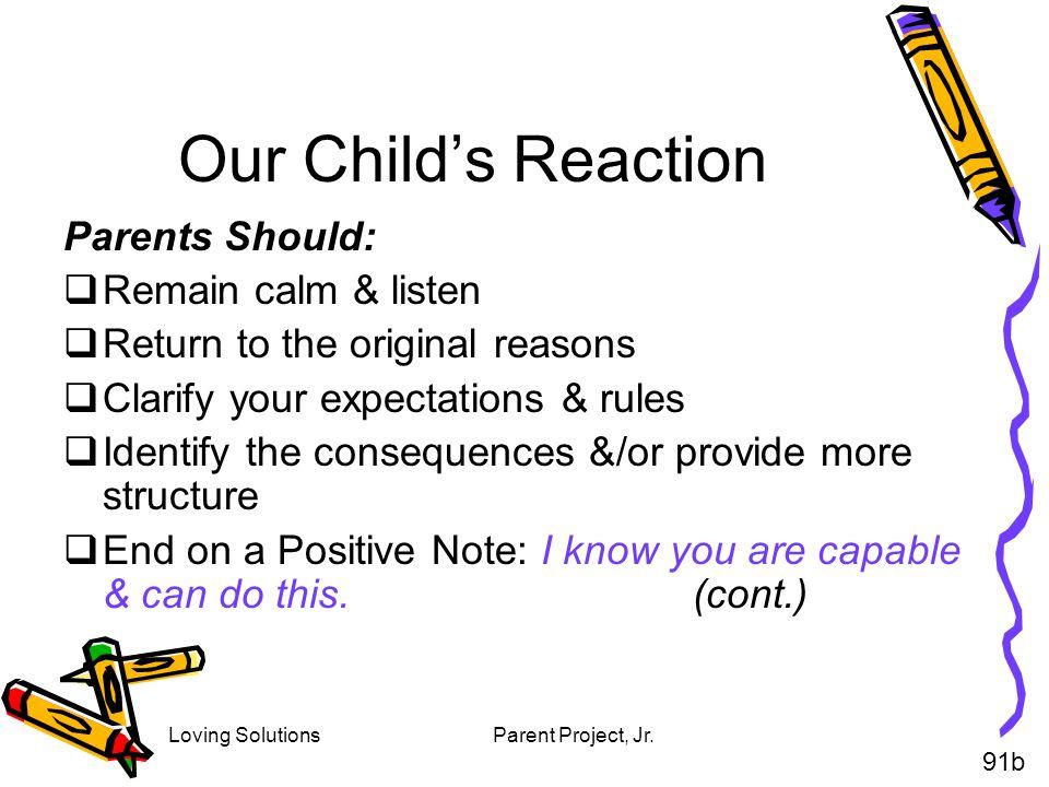 Our Child's Reaction Parents Should: Remain calm & listen