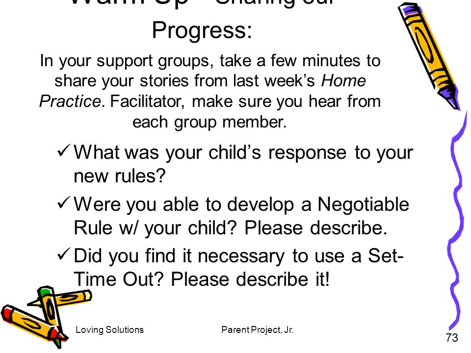 Warm Up - Sharing our Progress: