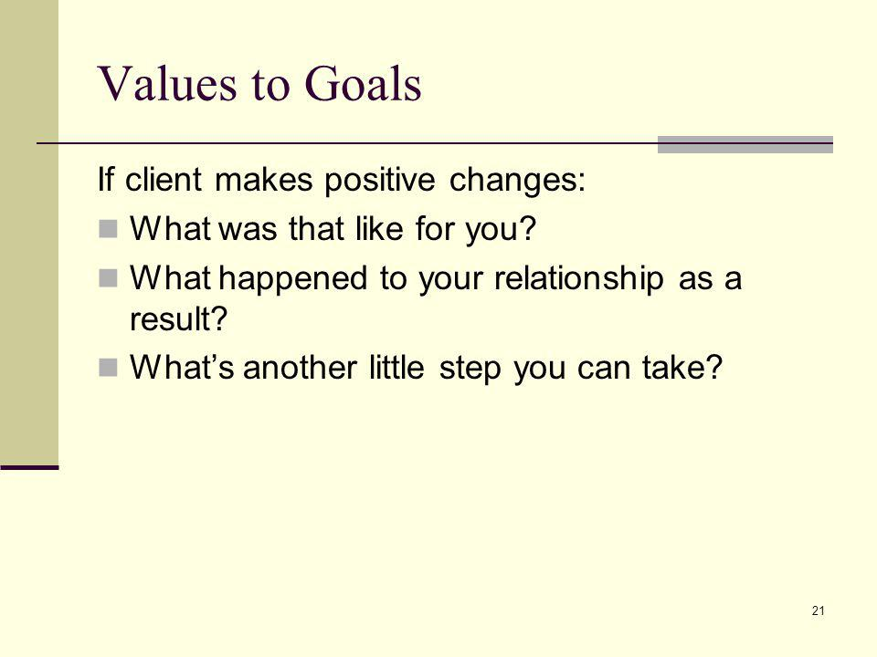 Values to Goals If client makes positive changes: