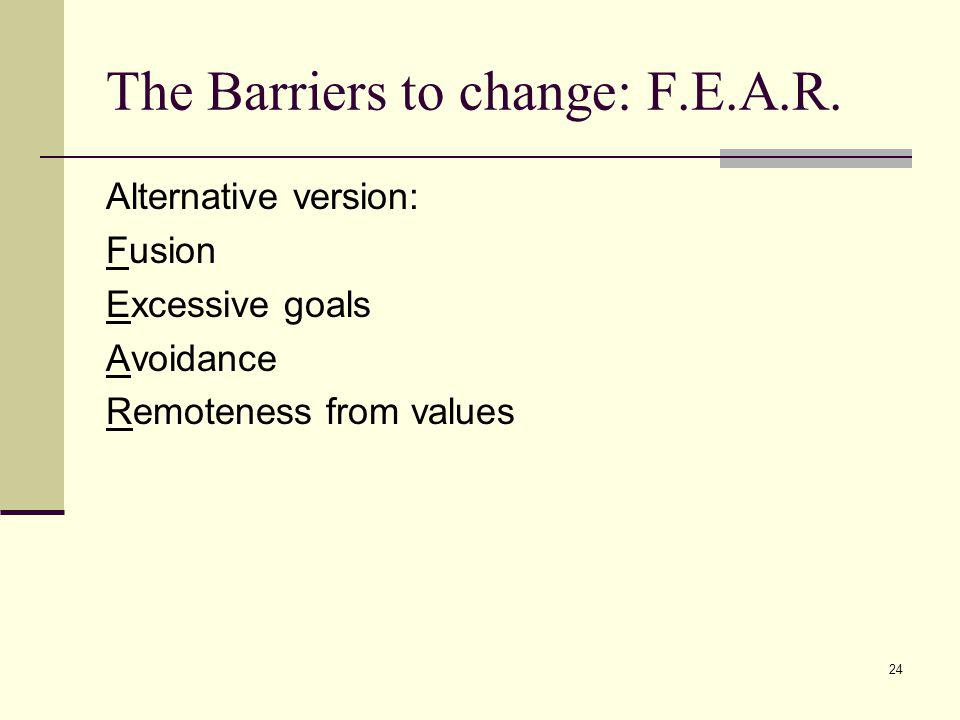 The Barriers to change: F.E.A.R.