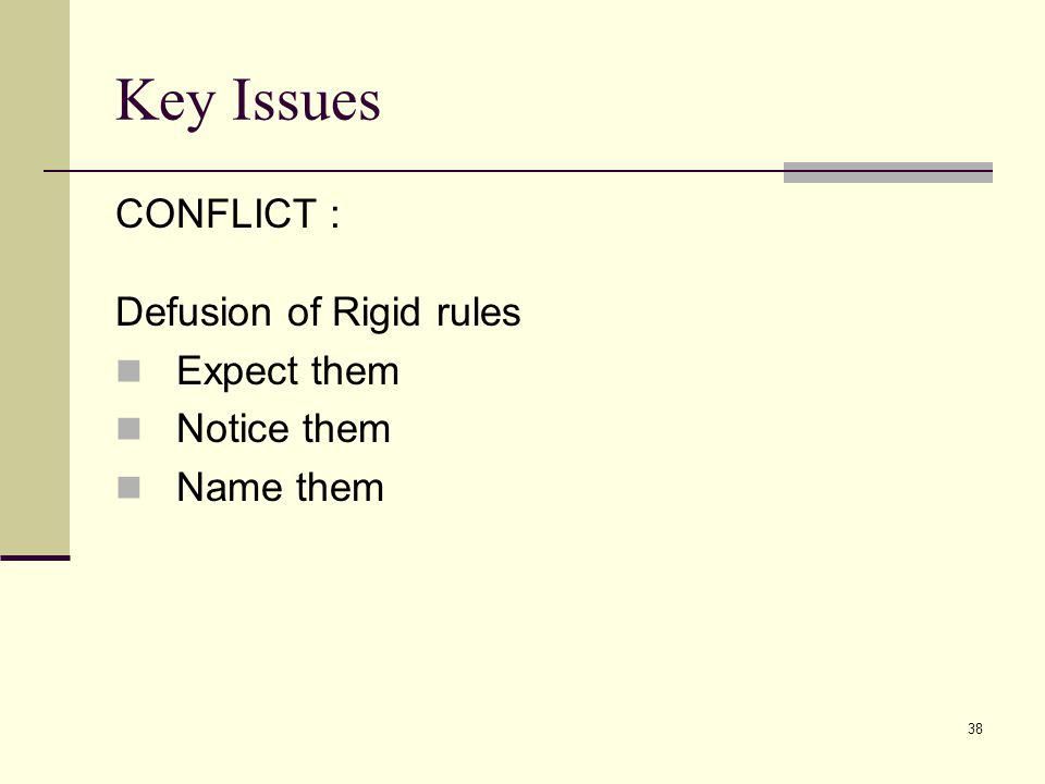 Key Issues CONFLICT : Defusion of Rigid rules Expect them Notice them