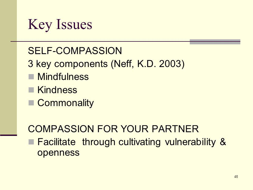 Key Issues SELF-COMPASSION 3 key components (Neff, K.D. 2003)