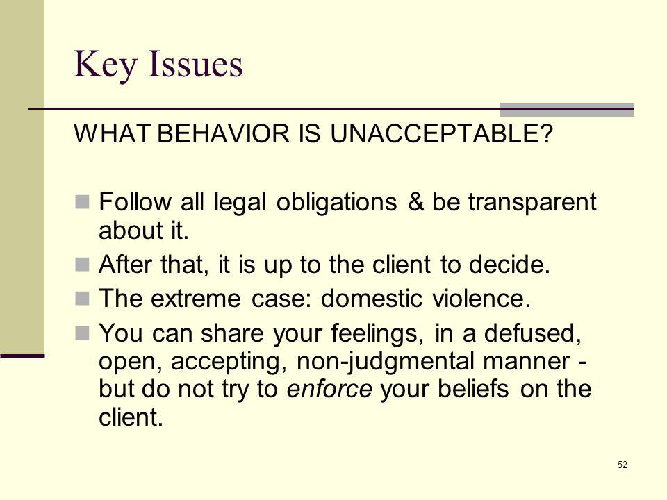 Key Issues WHAT BEHAVIOR IS UNACCEPTABLE