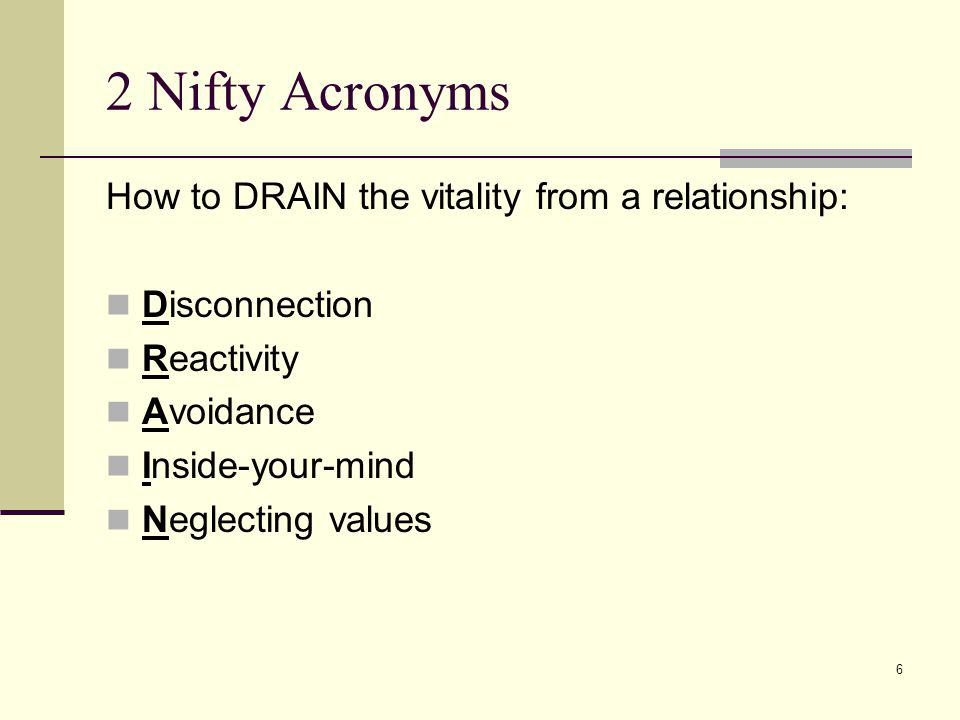 2 Nifty Acronyms How to DRAIN the vitality from a relationship: