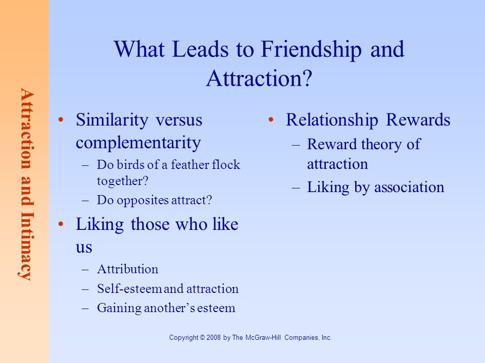 What Leads to Friendship and Attraction