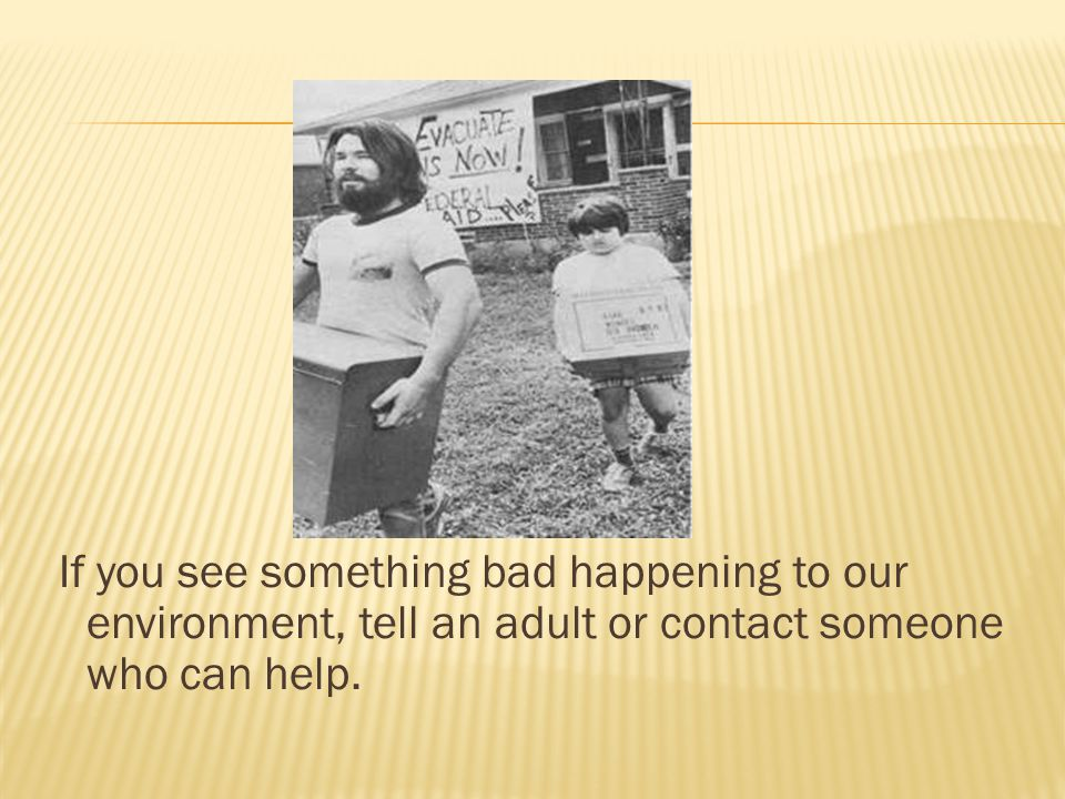 If you see something bad happening to our environment, tell an adult or contact someone who can help.