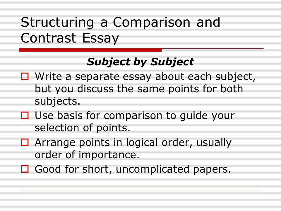 comparison and contrast writing ppt video online  structuring a comparison and contrast essay