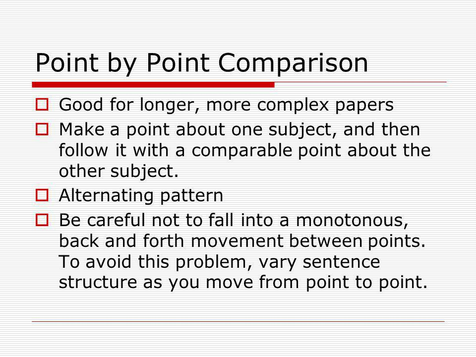 Point by Point Comparison