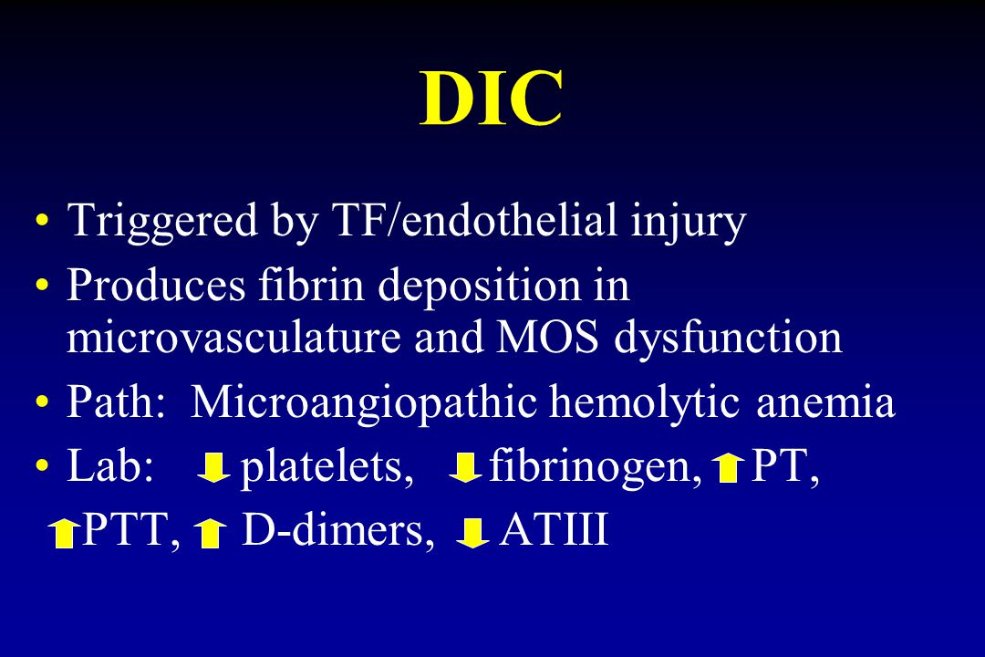 DIC Triggered by TF/endothelial injury