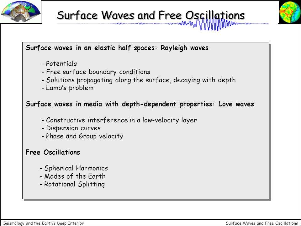 Surface Waves and Free Oscillations