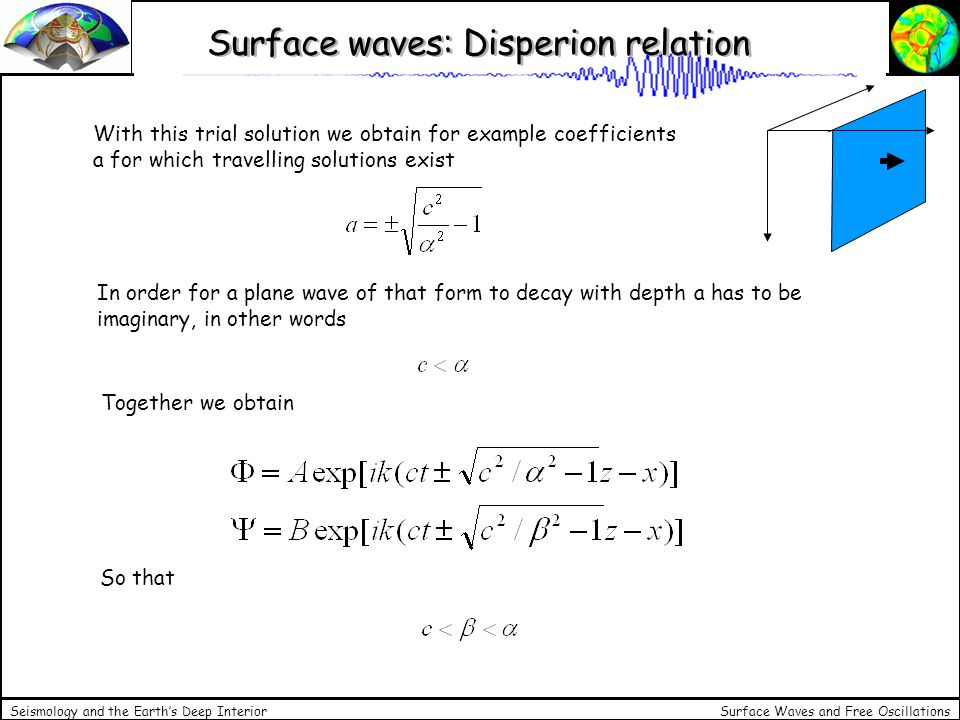 Surface waves: Disperion relation