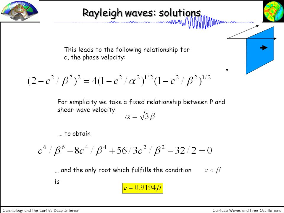 Rayleigh waves: solutions