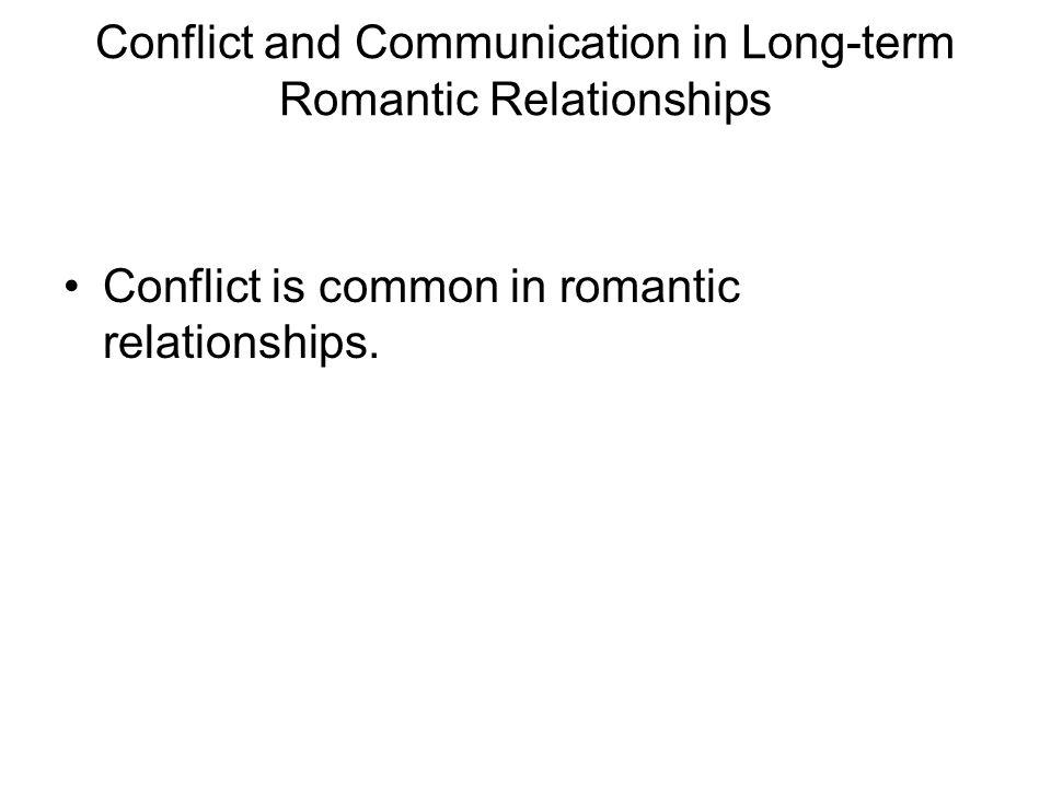 conflicts in romantic relationships Abstract the aim of this study was to determine to what extent the association between relationship satisfaction and a negative conflict style in romantic relationships may be due to the frequency of conflict or of conflict not satisfactorily resolved the 6-item relationship assessment scale (s s hendrick, 1988) and an 11-item conflict scale.