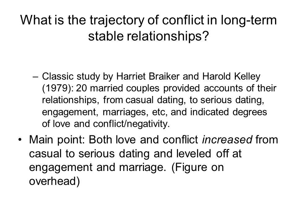 What is the trajectory of conflict in long-term stable relationships