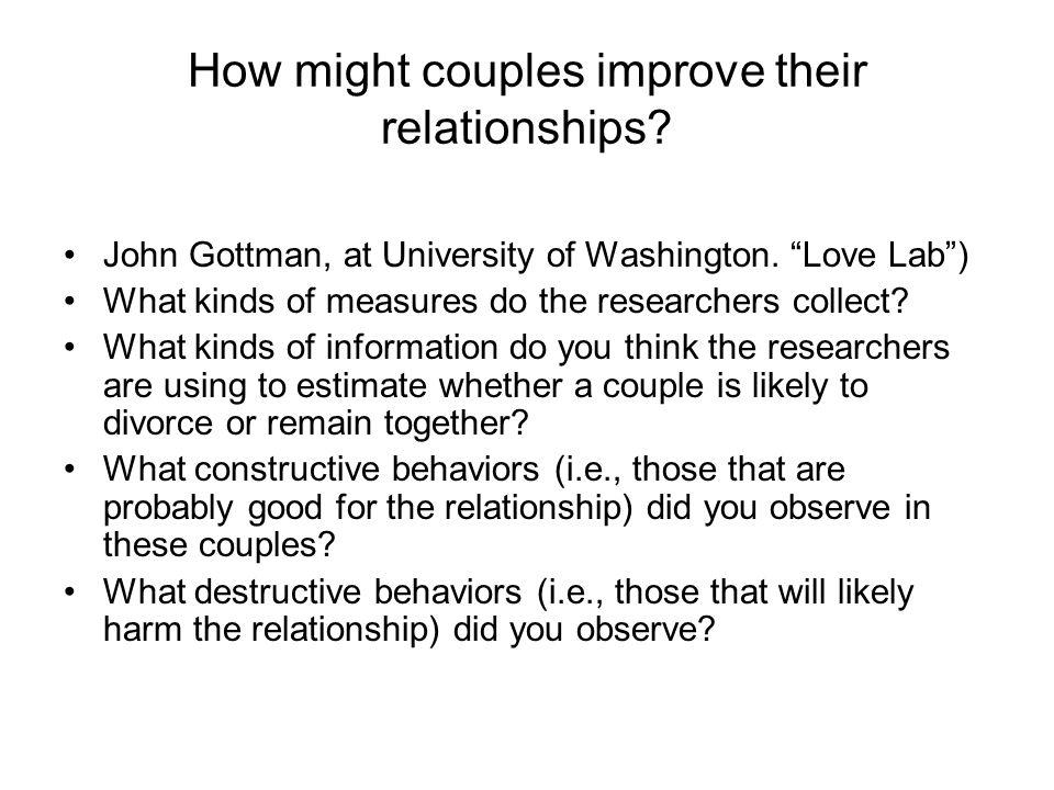 How might couples improve their relationships