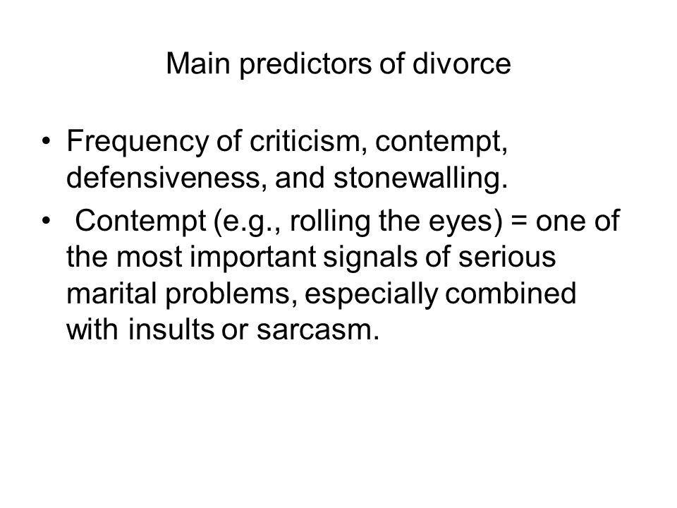Main predictors of divorce