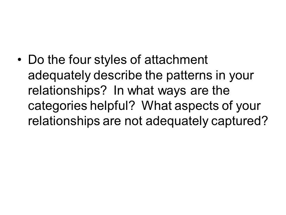 Do the four styles of attachment adequately describe the patterns in your relationships.