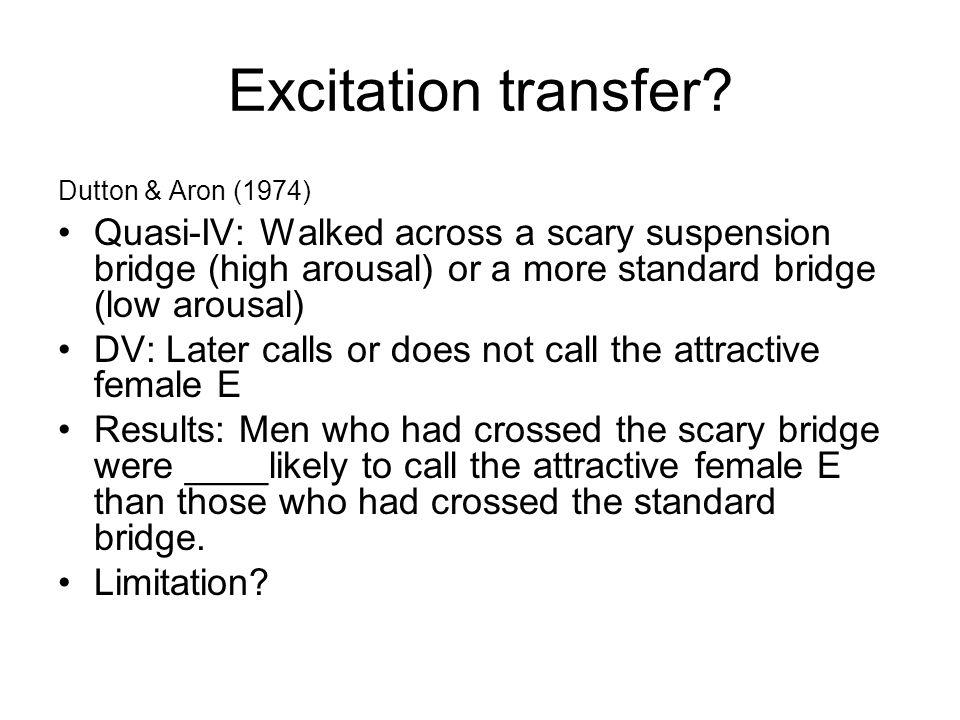 Excitation transfer Dutton & Aron (1974) Quasi-IV: Walked across a scary suspension bridge (high arousal) or a more standard bridge (low arousal)