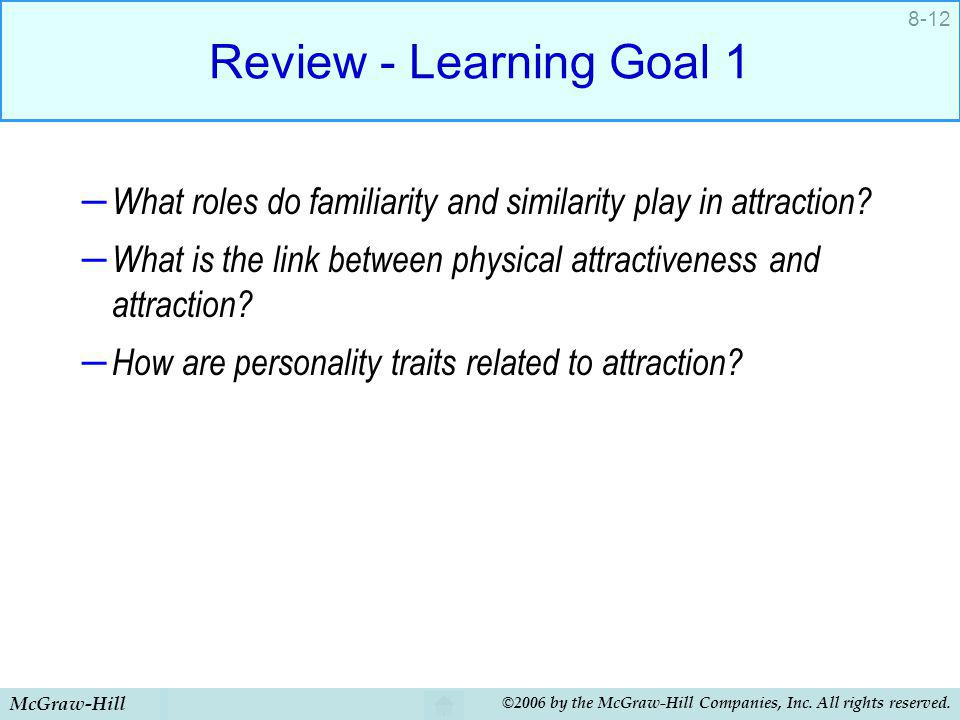 Review - Learning Goal 1 What roles do familiarity and similarity play in attraction